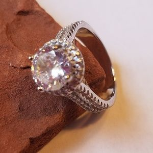 STUNNING 3 CT CZ HALO ENGAGEMENT RING .925 STERLIN